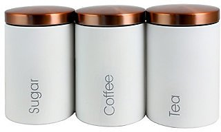3-Pc Essential Sugar, Coffee and Tea Canister Set(available in 2 colors)