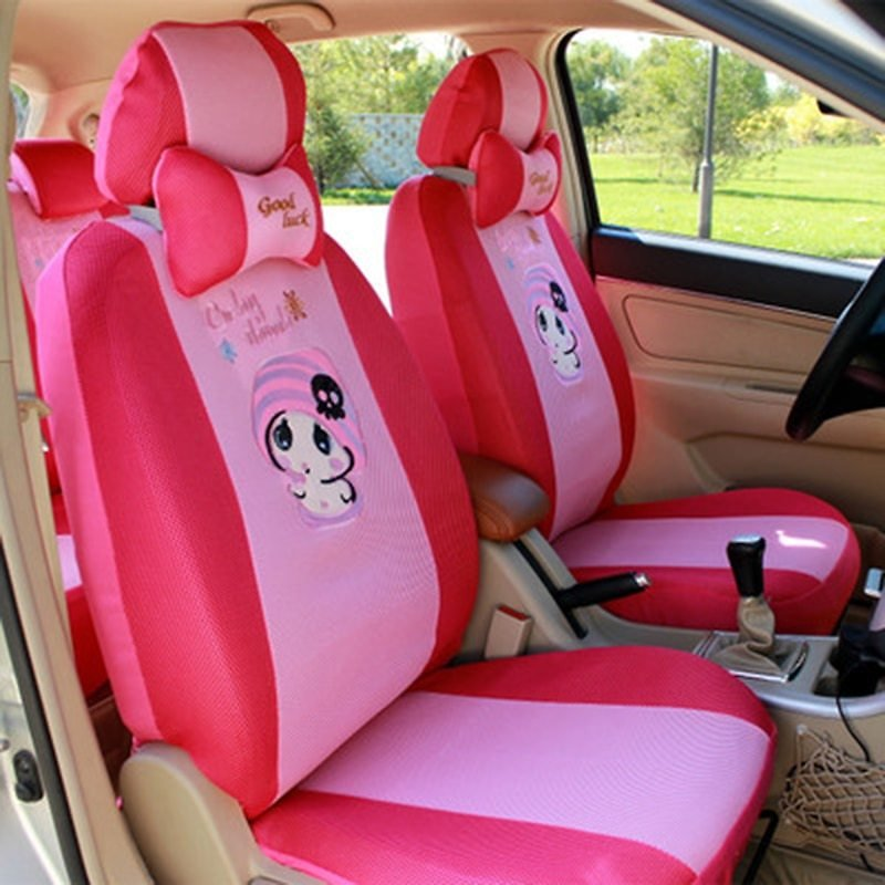 12pcs Cartoon Car Seat Cover Universal Sandwish Auto Seats Protector Breathable Automobil Interior Cushion Accessories for Girls