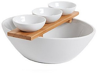 Gracious Dining 3 Piece Tidbit Serving Set with Bowls and Bamboo Tray & Reviews - Serveware - Dining