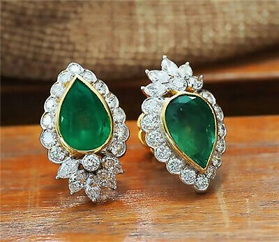 3Colors Stud Earrings for Women 925 Silver Jewelry Water Drop Emerald A Pair/set