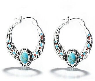 Fashion 925 Silver Earrings Turquoise Hoop Earring for Women Jewelry A Pair/set