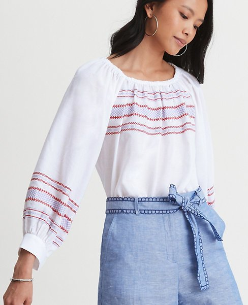 Embroidered Balloon Sleeve Top | Ann Taylor