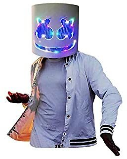 LED M-arshmallow Mask Full Head Halloween Party Prop Costume, Bar Music Festival Costume Cosplay White