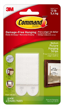 Command Medium Picture Hanging Strips, White, 8 / Pack (Quantity)