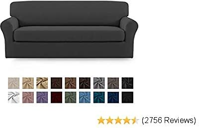 Easy-Going 2 Pieces Microfiber Stretch Sofa Slipcover – Spandex Soft Fitted Sofa Couch Cover, Washable Furniture Protector with Elastic Bottom for Kids,Pet (Sofa,Gray)