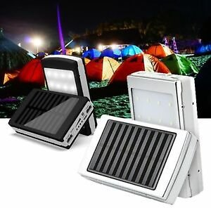 Solar Panel Portable Dual USB Power Bank External Battery Charger With LED Light