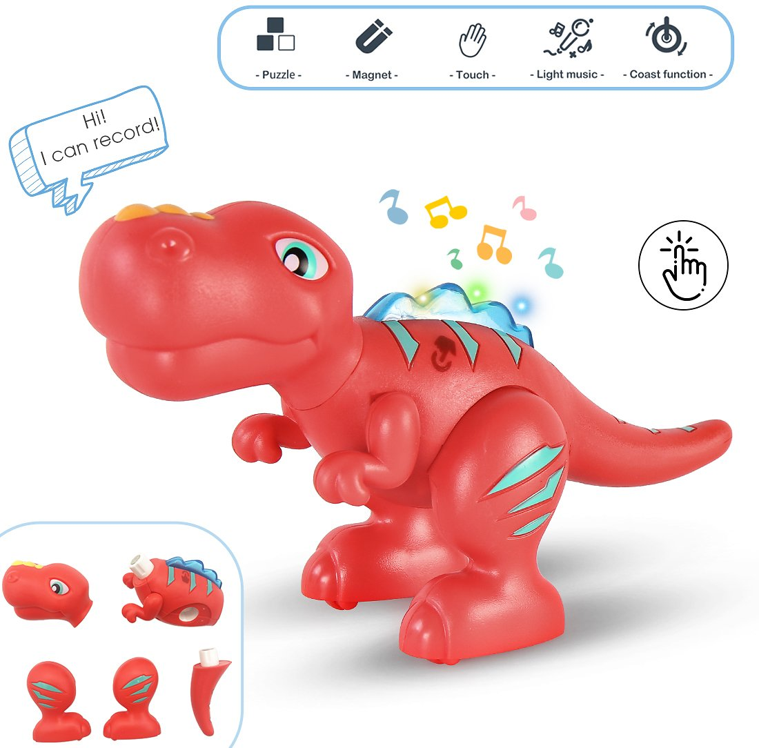 PRIME DEAL - Recording Dinosaur Toys Magnetic Building, Touch for Sound Light