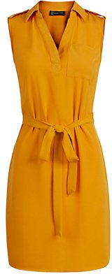 Tie-Front Belted Shirtdress