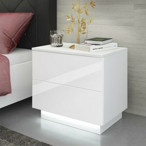 Bedroom Nightstand with Control LED Backlight, High Gloss Wooden End Table Night Table W/2 Drawers Storage