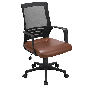 Smilemart Leather Midback Manager's Chair with Lumbar Support, Brown