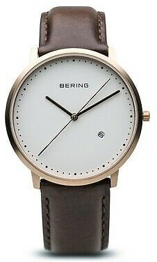 Bering Men's Watch Rose Gold Stainless Steel Case Leather White Dial 11139-564 4894041919485