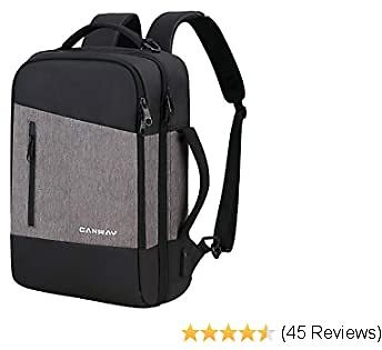 Canway Travel Laptop Backpack, 3-in-1 Large College School Computer Bag with USB Charging Port Fits 15.6 Inch Laptop, Bookbag Casual Hiking Daypack for Women & Men