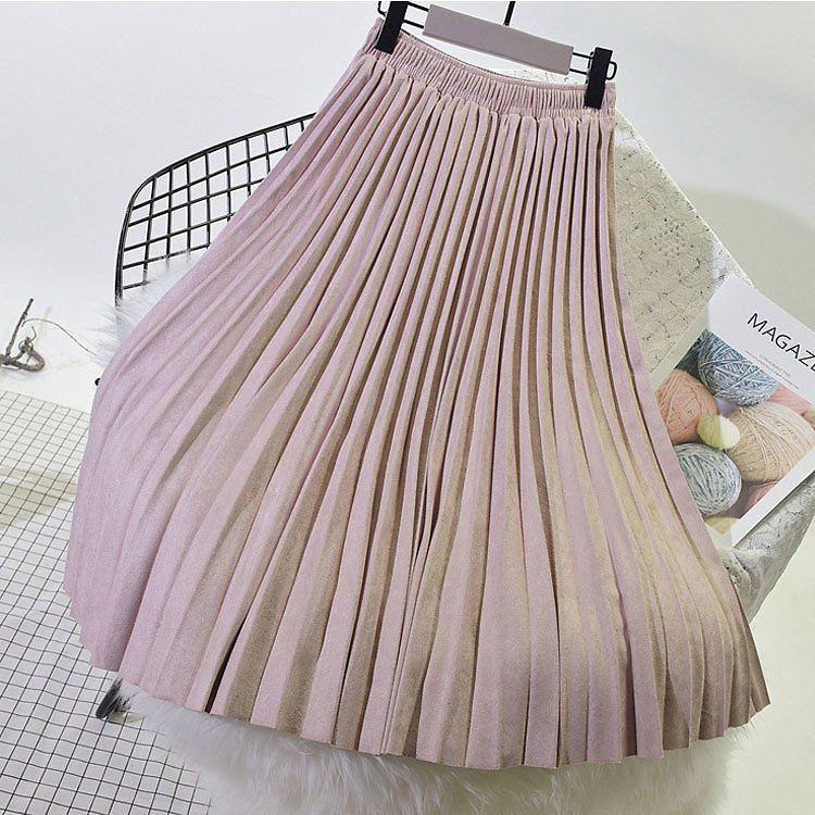 wo Layer Spring Women Suede Skirt