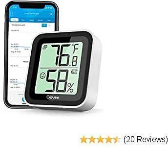 Govee Temperature Humidity Sensor, Mini Bluetooth Hygrometer Thermometer with App Alert & Data Storage, Indoor Digital Thermometer Hygrometer with Data Export for Home Greenhouse Wine Humidor Garage