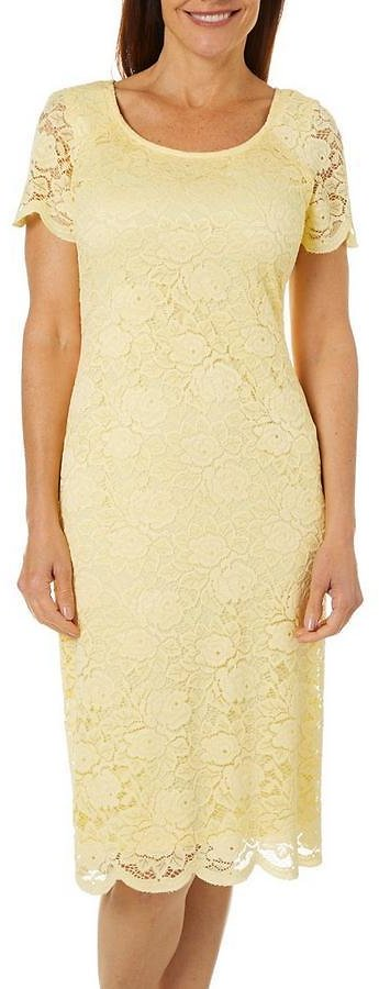 Womens Short Sleeve Floral Lace Dress