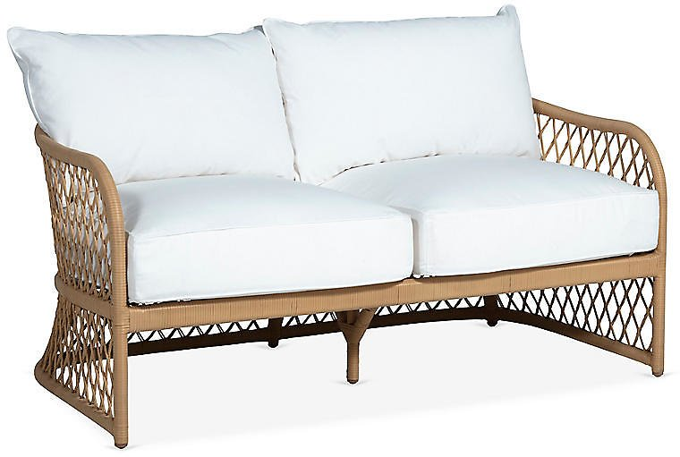 One Kings Lane Outdoor - Carmel Loveseat, White | One Kings Lane