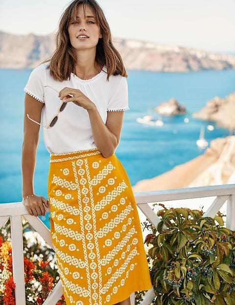 Eyre Embroidered Skirt - Yellow Embroidery | Boden US