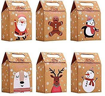 LOKIPA Christmas Kraft Paper Gift Bags, 24pcs Christmas Party Treat Goody Candy Boxes for Xmas Party Bag Fillers