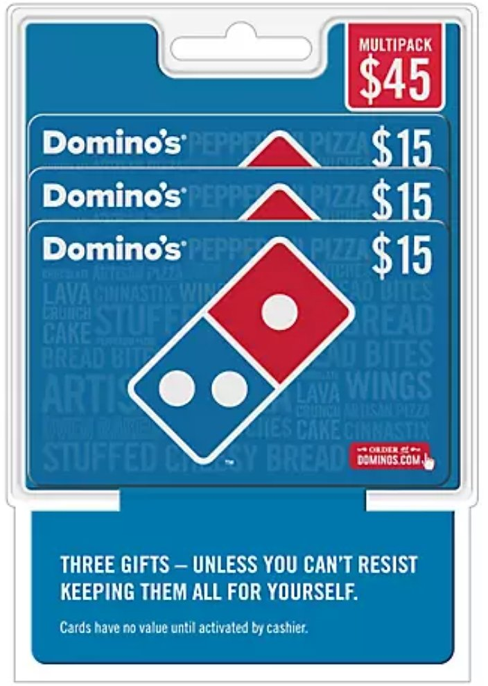 3-Pack $15 Domino's Pizza Gift Card
