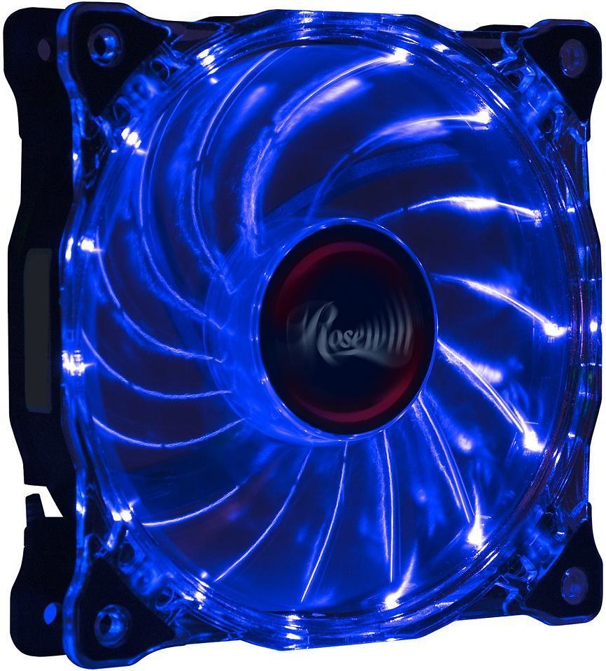 Rosewill RFA-120-WL - 120mm CULLINAN Computer Case Cooling Fan with LP4 Adapter - Semi-Transparent Frame & Blue LED Lights, Sleeve Bearing, Silent - Newegg.com
