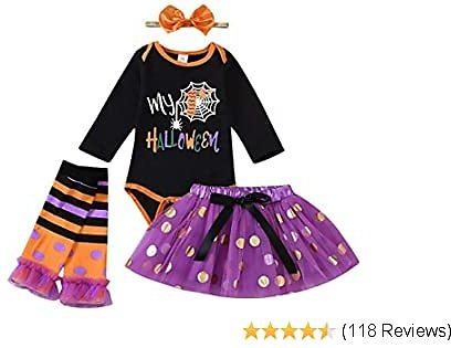 BFUSTYLE 4Pcs Baby Girls Outfits My 1st Halloween Romper+Bow Tutu Skirt+Headband+Leg Warmers Set 0-18 Months