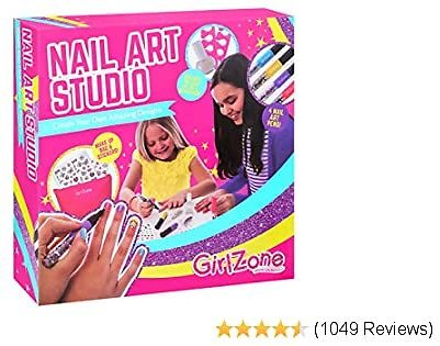 GirlZone Nail Art Studio Set, Nail Art Stickers, 3 Nail Salon Pens and Makeup Bag, Great Birthday Gift for Girls