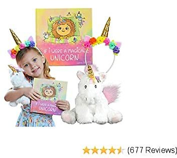 Unicorn Gift Set – Includes Book, Stuffed Plush Toy, and Headband for Girls Ages 2 3 4 5 6 7 Years - If I Were A Magical Unicorn – Great for Birthday, Christmas, Imaginative Play