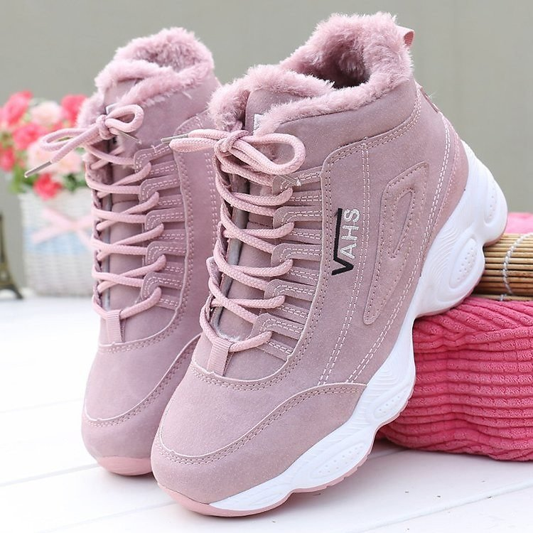 2020 Winter New Plus Velvet Women's Shoes High-top Shoes Female Students Thick-soled Sneakers Cotton Shoes