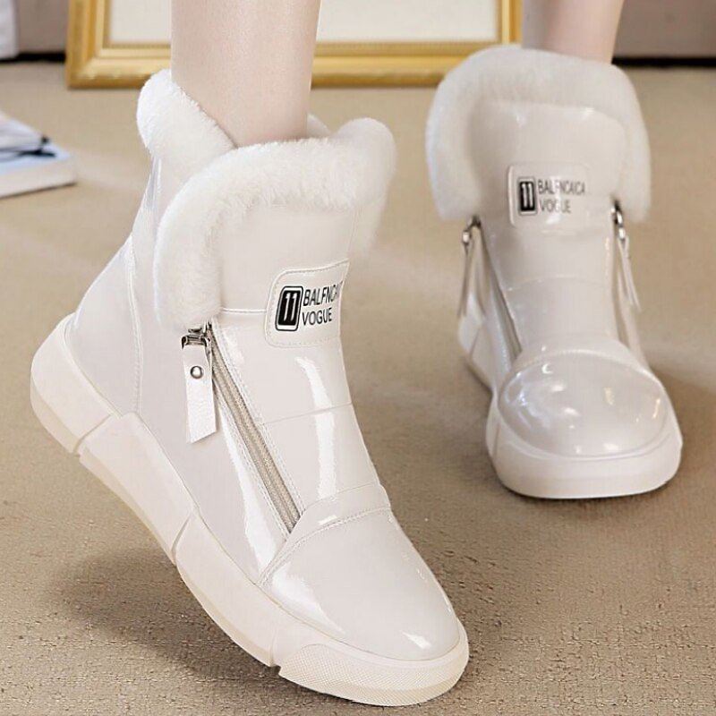 2020 New Women Casual Sneakers Winter with Plush Fur Warm Ankle Boots Flat Heel Thicken Boots White Beigh Botas Mujer Invierno