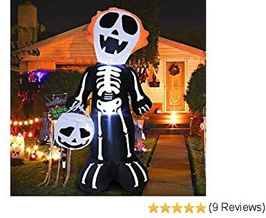 5Ft Halloween Inflatables Skull Skeletons with Pumpkin Ghost LED Lights Air Blow Up for Halloween Holiday Indoor Outdoor Yard Lawn Home Party Scary Decorations with Tethers Stakes