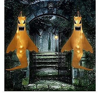 UJGYH LED Lights Halloween Decorations Outdoor Inflatables 40 Inch Specter Ghost Windsock Flag Halloween Hanging Decor for Home Yard Outdoor Decor Party Supplies (2pcs, White-with Battery)