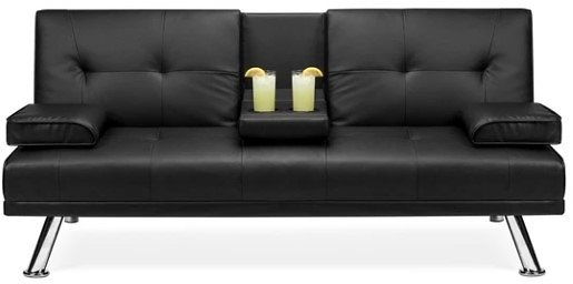 BCP Faux Leather Upholstered Convertible Sofa Bed Futon W/2 Holders
