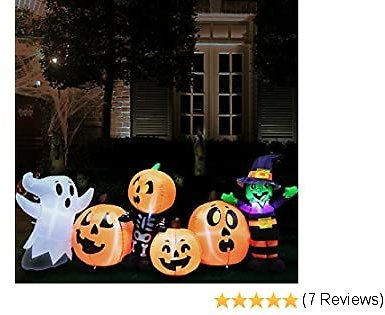 Joiedomi 8 Ft Long Three Halloween Characters and Pumpkin Patch Halloween Inflatable Yard Decoration