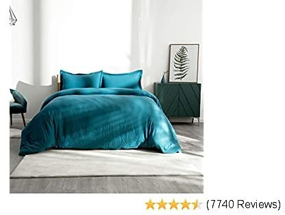 Bedsure Washed Duvet Cover Set Full Size with Zipper Closure, Ultra Soft Hypoallergenic Comforter Cover Sets 3 Pieces (1 Duvet Cover + 2 Pillow Shams), Teal, 80X90 Inches