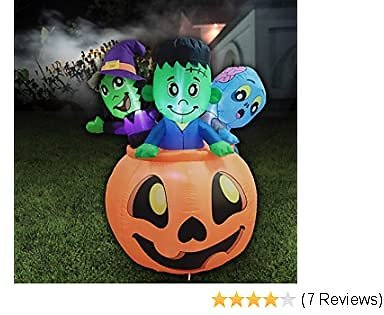 5 FT Tall Halloween Inflatable Three Characters On Pumpkin Inflatable Yard Decoration with Build-in LEDs Blow Up Inflatables for Halloween Party Indoor, Outdoor, Yard, Garden, Lawn Decorations