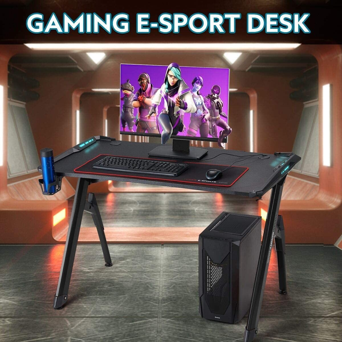EROMMY 47inch Ergonomic Gaming Desk Home Office Desk RGB LED Light PC Computer Table with Cup Holder & Headphone Hook,Cabling Ma