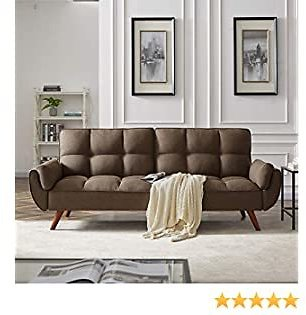 DKLGG Futon Sofa Convertible Couches Sleeper Bed for Living Room Fold Up and Down Recliner Couch (Brown)