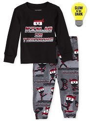 Baby And Toddler Boys Dad And Me Long Sleeve Glow In The Dark 'Ninja In Training' Ninja Matching Snug Fit Cotton Pajamas