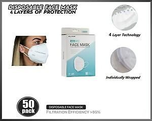 [50 PACK] KN95 Protective Face Mask BFE 95% PM2.5 Disposable Respirator