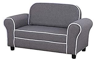 Kid Sofa Chair, Linen Fabric 2-Seater Upholstered Couch,for Children Gift (Grey)