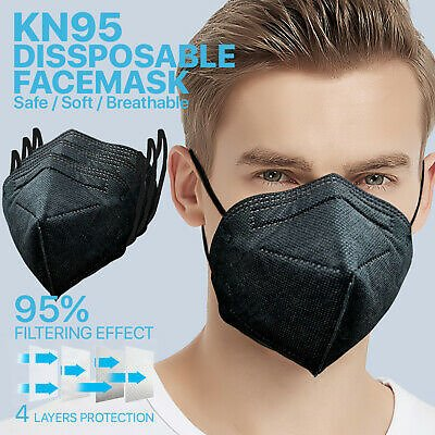 [BLACK] 50 Pcs KN95 Protective Face Mask 5-Layer 95% PM2.5 Disposable Respirator