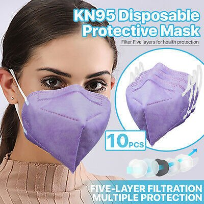 [PURPLE] 10 Pc KN95 Protective Face Mask 5-Layer 95% PM2.5 Disposable Respirator