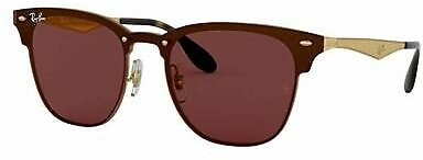 Ray-Ban Blaze Clubmaster Sunglasses RB3576N Brushed Gold W/ Dark Violet