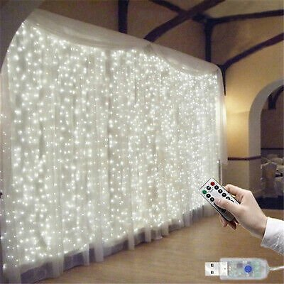 300 LED Fairy String Curtain Window Lights Twinkle Christmas Party Wedding Decor