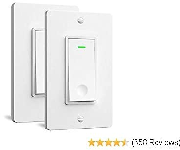 Single Pole Smart Light Switch - Aoycocr in Wall Wi-Fi Light Switch That Work with Alexa Google Home, No Hub Required, Neutral Wire Needed, FCC Listed, 2Pack White