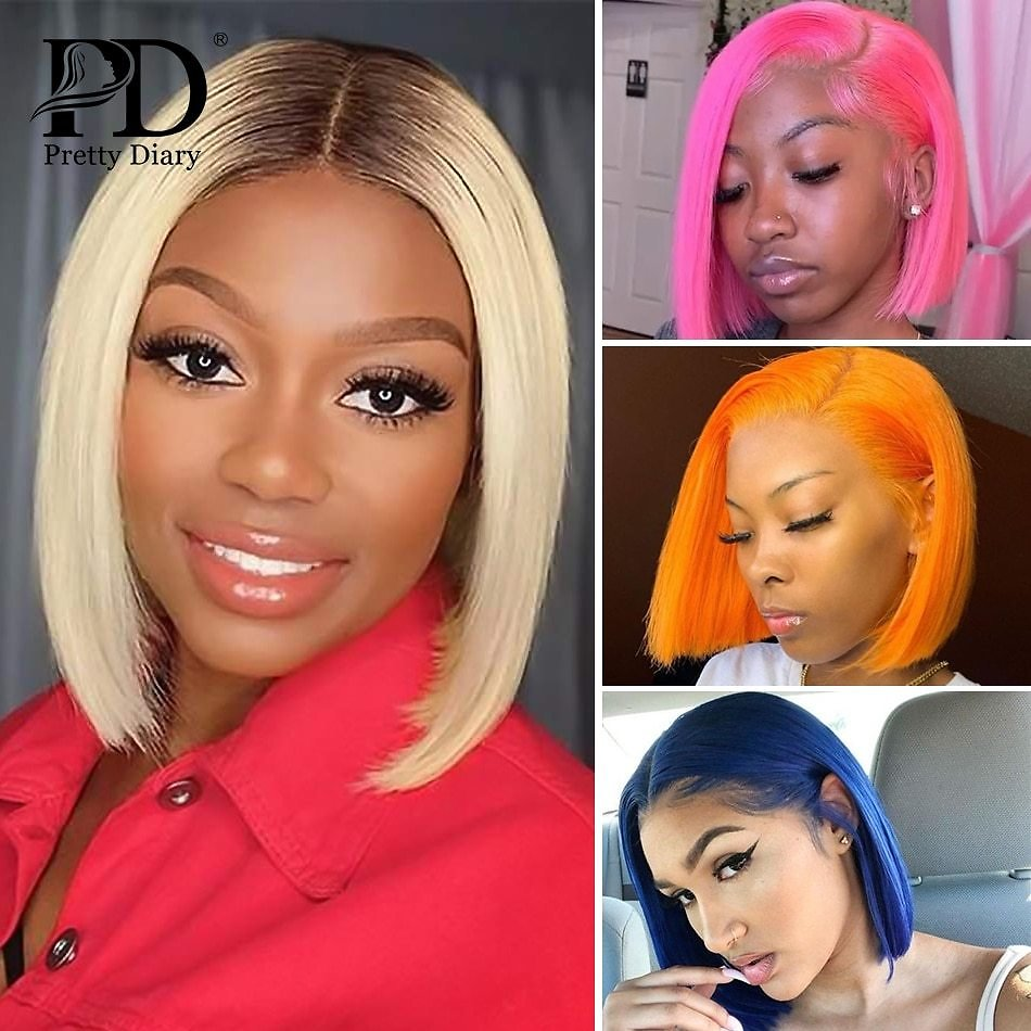 HD Transparent 613 Honey Blonde Brazilian Straight Human Hair Wigs Remy Short Bob Ombre T1/B Lace Closure Front Wigs for Women