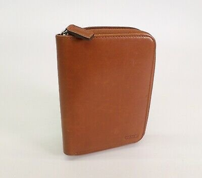 Coach Leather Planner PDA Case Portfolio Brown Small Pocket Mini Wallet Zip Vtg