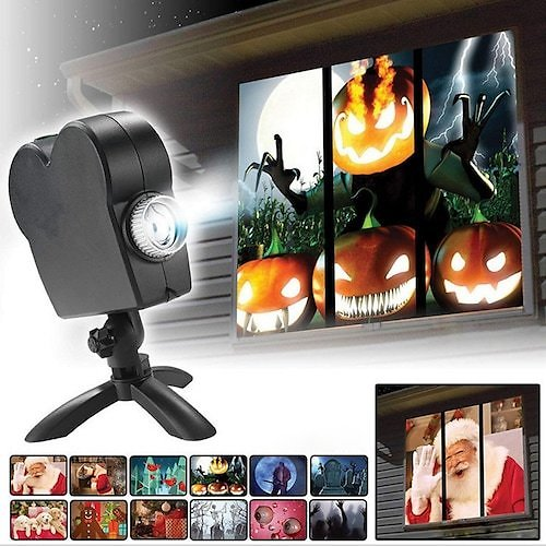Christmas Halloween Laser Projector Indoor&Outdoor Waterproof 12 Movies Disco Light Mini Window Home Theater Projector Wonderland Projector Lamp