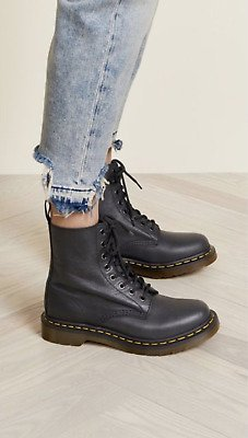 Dr. Martens 1460 PASCAL Virginia Leather Boot MSRP$165 Black/Grey Cristal Suede