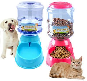 Automatic Cat Feeder Pet Dog Water Bottle Dispenser Travel Food Dish Bowl 3.5L